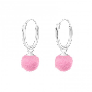 Hanging Pom Pom - 925 Sterling Silver Children Hoops A4S37175