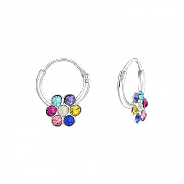 Flower - 925 Sterling Silver Children Hoops A4S37216