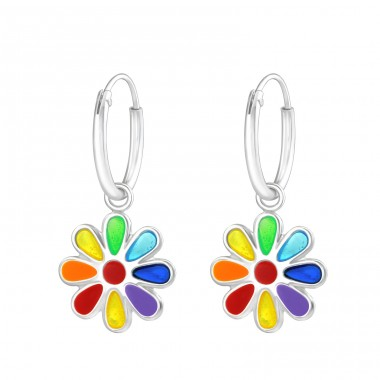 Hanging Flower - 925 Sterling Silver Hoops A4S37217