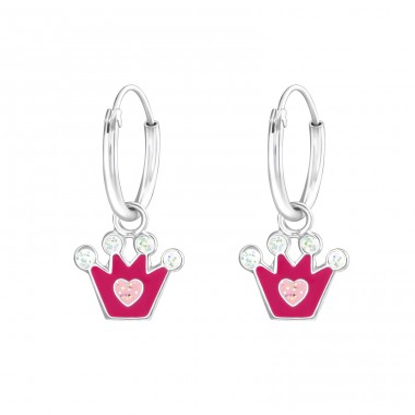 Hanging Crown - 925 Sterling Silver Hoops A4S37218