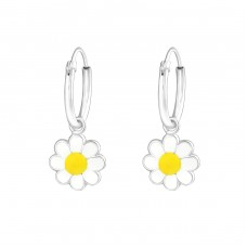 Hanging Flower - 925 Sterling Silver Hoops A4S37219