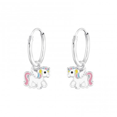 Hanging Unicorn - 925 Sterling Silver Children Hoops A4S38310