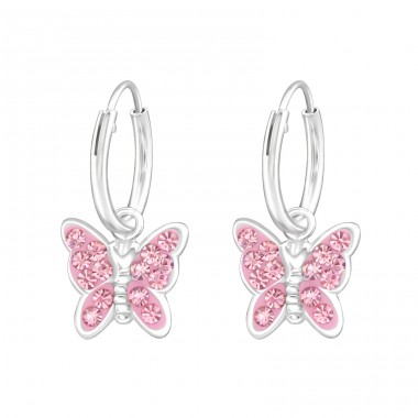 Hanging Butterfly - 925 Sterling Silver Children Hoops A4S38476