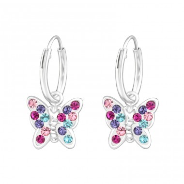 Hanging Butterfly - 925 Sterling Silver Children Hoops A4S38477