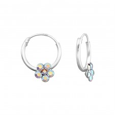 Flower - 925 Sterling Silver Children Hoops A4S39071