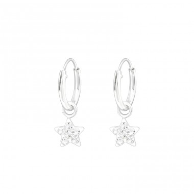 Star - 925 Sterling Silver Children Hoops A4S39882