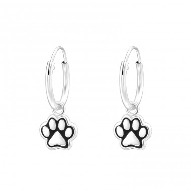 Hanging Paw Print - 925 Sterling Silver Children Hoops A4S41459