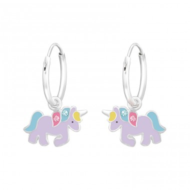 Hanging Unicorn - 925 Sterling Silver Children Hoops A4S41460