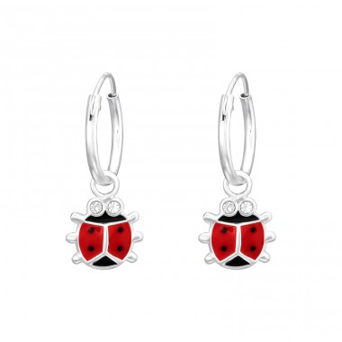 Ladybug with crystal eyes - 925 Sterling Silver Children Hoops A4S41461