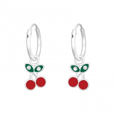 Cherry - 925 Sterling Silver Children Hoops A4S41462