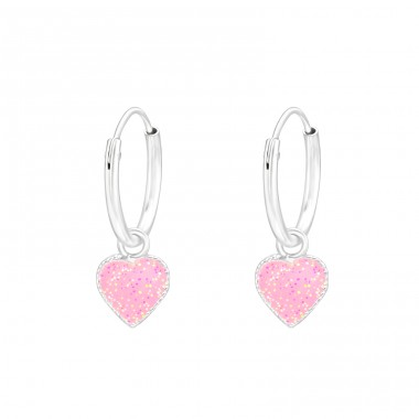 Hanging Heart - 925 Sterling Silver Children Hoops A4S41468