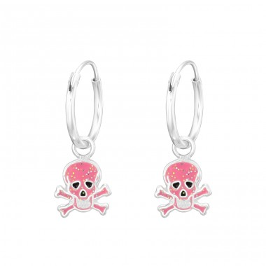 Hanging Skull - 925 Sterling Silver Children Hoops A4S41550
