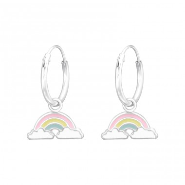 Hanging Rainbow - 925 Sterling Silver Children Hoops A4S41551