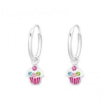Hanging Cupcake - 925 Sterling Silver Children Hoops A4S41552