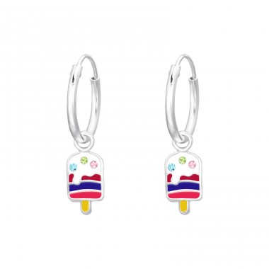 Hanging Ice Cream - 925 Sterling Silver Children Hoops A4S41553