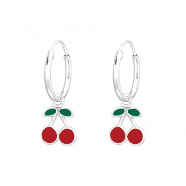 Hanging Cherry - 925 Sterling Silver Children Hoops A4S41554