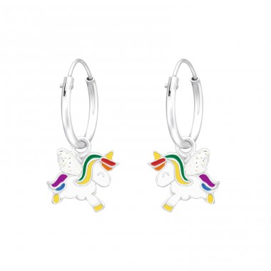 Hanging Unicorn - 925 Sterling Silver Children Hoops A4S41555