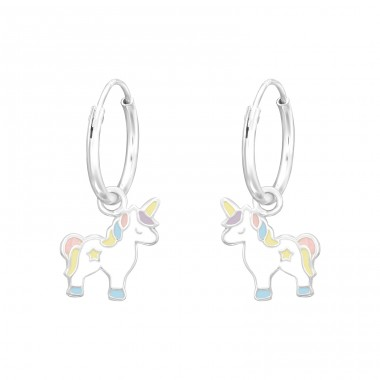 Hanging Unicorn - 925 Sterling Silver Children Hoops A4S41556