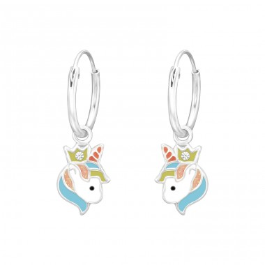 Hanging Unicorn - 925 Sterling Silver Children Hoops A4S41558