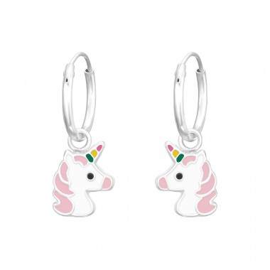 Hanging Unicorn - 925 Sterling Silver Children Hoops A4S41560