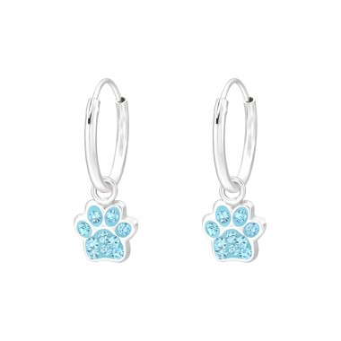 Hanging Paw Print - 925 Sterling Silver Children Hoops A4S41574