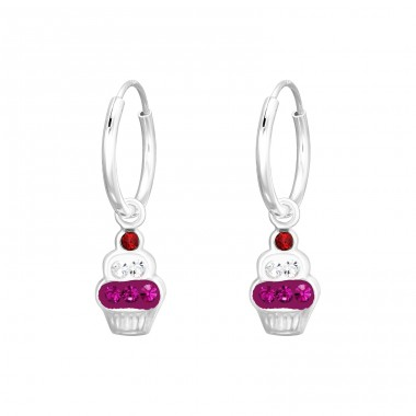 Crystal Cupcake - 925 Sterling Silver Children Hoops A4S41578