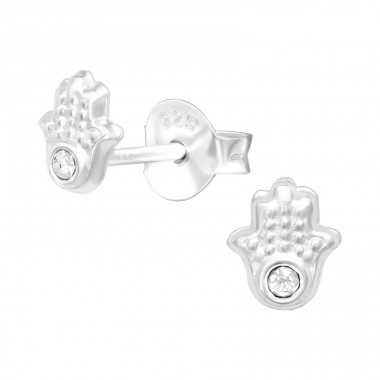 Hamsa hand - 925 Sterling Silver Ear Studs With Crystals & Zirconia A4S41276