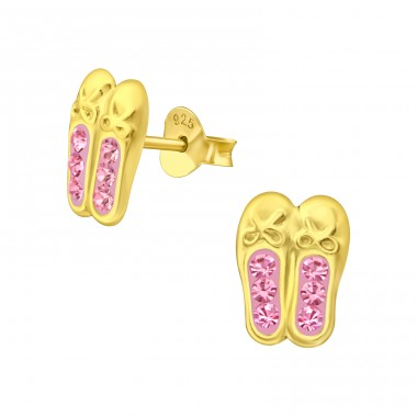 Golden Ballerina Shoes - 925 Sterling Silver Ear Studs With Crystals & Zirconia A4S41754
