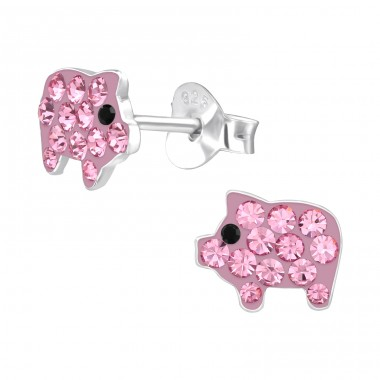 Pink Pig - 925 Sterling Silver Ear Studs With Crystals A4S42037