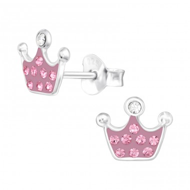 Pink princess crown - 925 Sterling Silver Ear Studs With Crystals & Zirconia A4S42038
