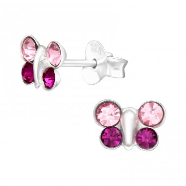 Pink & Purple Butterfly - 925 Sterling Silver Ear Studs With Crystals & Zirconia A4S42414