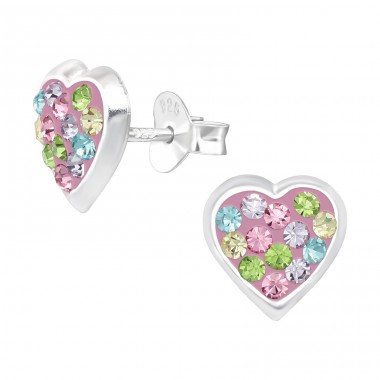 Multicolor Heart - 925 Sterling Silver Ear Studs With Crystals & Zirconia A4S42420