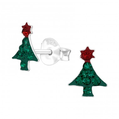 Christmas Tree - 925 Sterling Silver Ear studs with crystals & Zirconia A4S42424