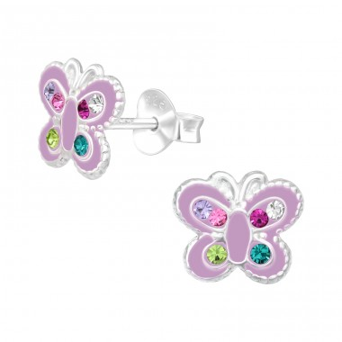 Butterfly - 925 Sterling Silver Ear studs with crystals & Zirconia A4S42425