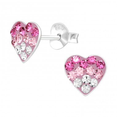 Pink Heart layered - 925 Sterling Silver Ear Studs With Crystals & Zirconia A4S42426