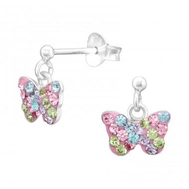 Butterfly pastel colors - 925 Sterling Silver Ear Studs With Crystals & Zirconia A4S42427