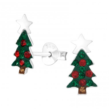Christmas Tree - 925 Sterling Silver Ear studs with crystals & Zirconia A4S42429