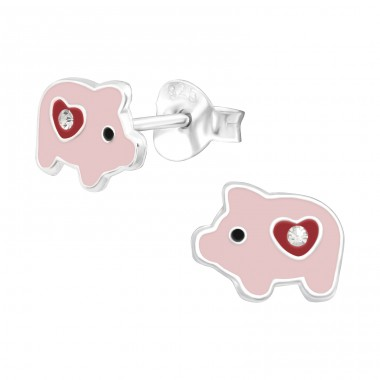 Pig heart - 925 Sterling Silver Ear Studs With Stones A4S42751