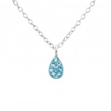 Tear Drop - 925 Sterling Silver Necklaces with silver chains A4S22324