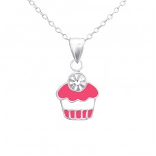 Cupcake - 925 Sterling Silver Necklaces with silver chains A4S24346