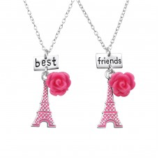 Eiffel Towers And Flowers And Best Friends - 925 Sterling Silver Necklaces with silver chains A4S25944
