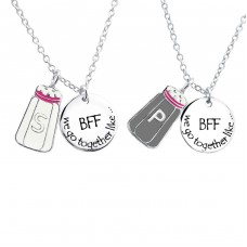 Salt And Pepper And Bff Round - 925 Sterling Silver Necklaces with silver chains A4S25996