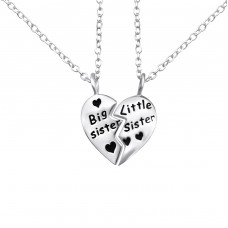 Big Sister Little Sister - 925 Sterling Silver Necklaces with silver chains A4S26373