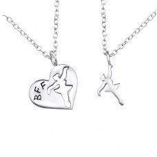 Bff Ballerina - 925 Sterling Silver Necklaces with silver chains A4S26388