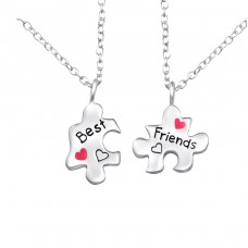 Bff Puzzle Best Friends - 925 Sterling Silver Necklaces with silver chains A4S26391