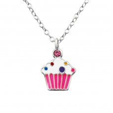 Cupcake - 925 Sterling Silver Necklaces with silver chains A4S28062