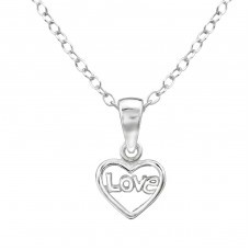 Love - 925 Sterling Silver Necklaces with silver chains A4S28580