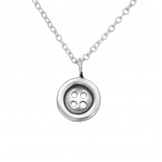 Button - 925 Sterling Silver Necklaces with silver chains A4S29637
