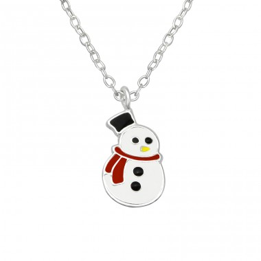 Snowman - 925 Sterling Silver Necklaces with silver chains A4S29847