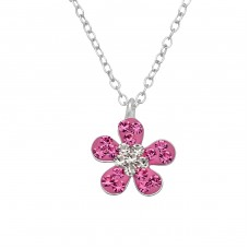 Flower - 925 Sterling Silver Necklaces with silver chains A4S29848